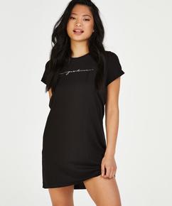 Nachthemd ronde hals, Zwart