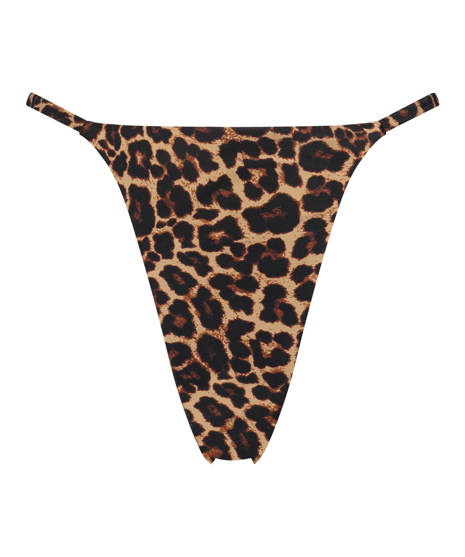 Hoog uitgesneden string bikinibroekje Animal HKM x NA-KD, Bruin, main