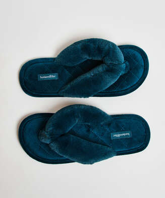 Slippers Velours fur, Groen