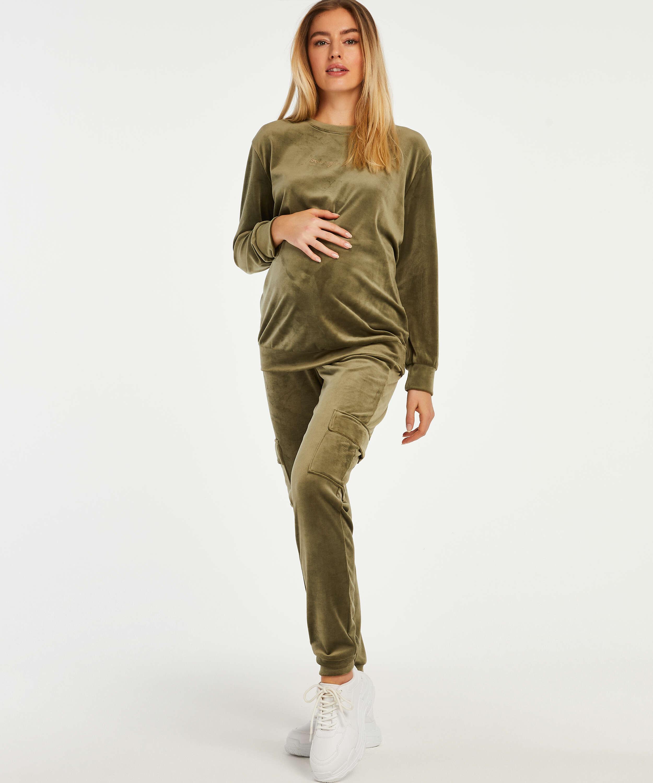 Zwangerschapstop Velours, Groen, main