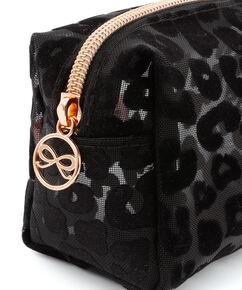 Trousse de maquillage mesh Leopard, Noir