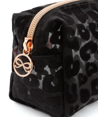 Make up tas mesh leopard, Zwart