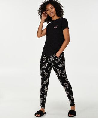 Haut de pyjama à manches courtes, Noir