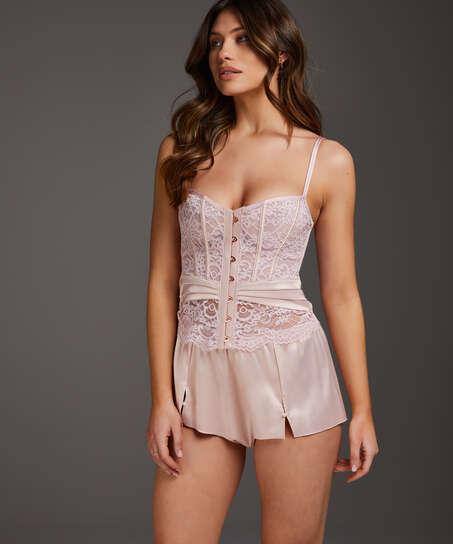 Shorts Satijn Amelia Tap, Roze