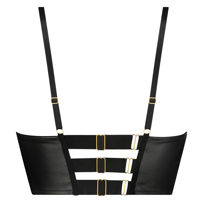 Soutien-gorge à armatures push-up préformé longline Talia, Noir, main