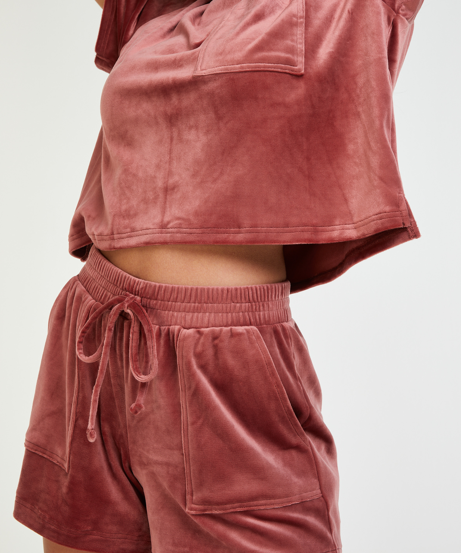 Shorts Velours Pocket, Roze, main
