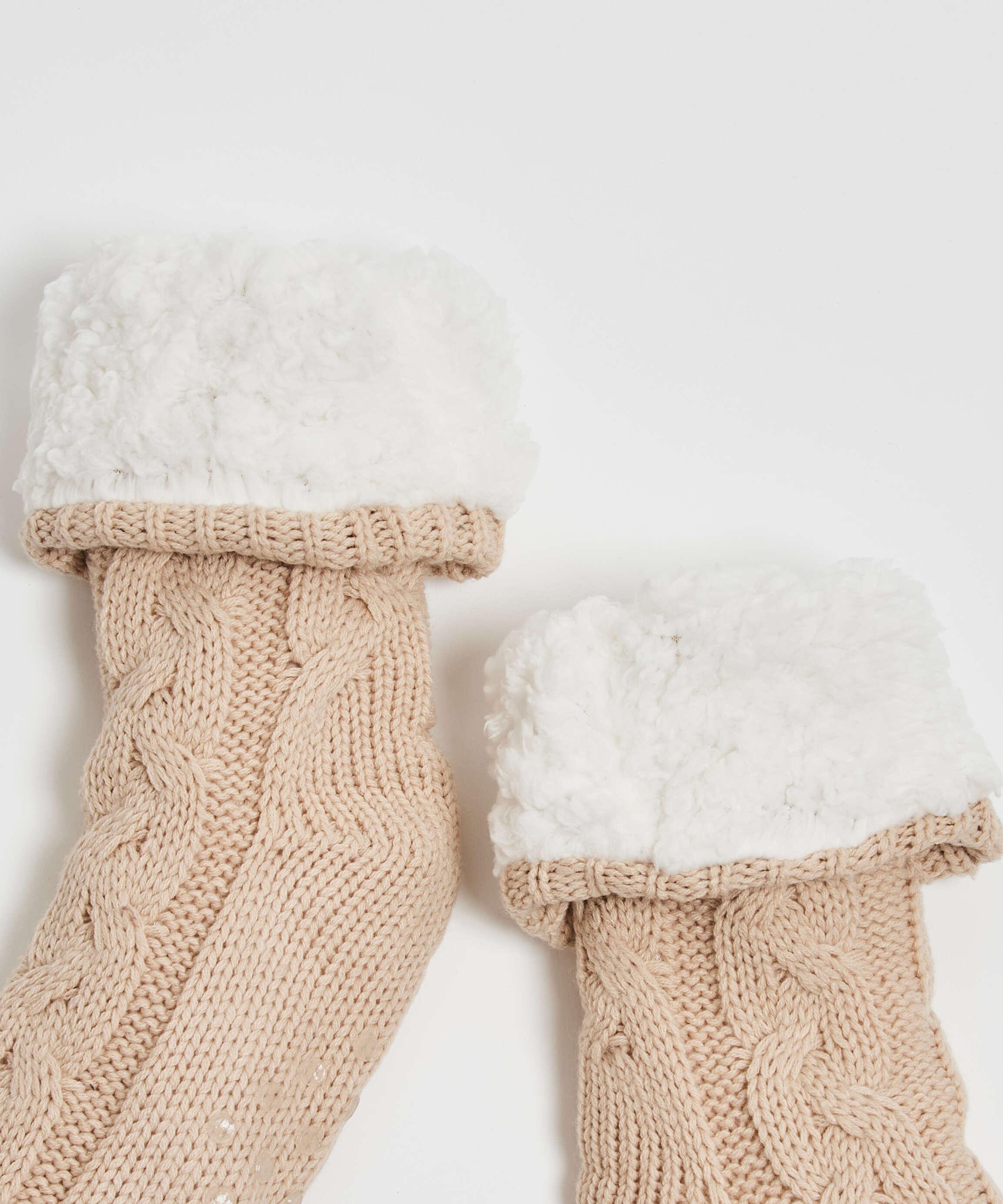 Chaussettes tricotées, Blanc, main