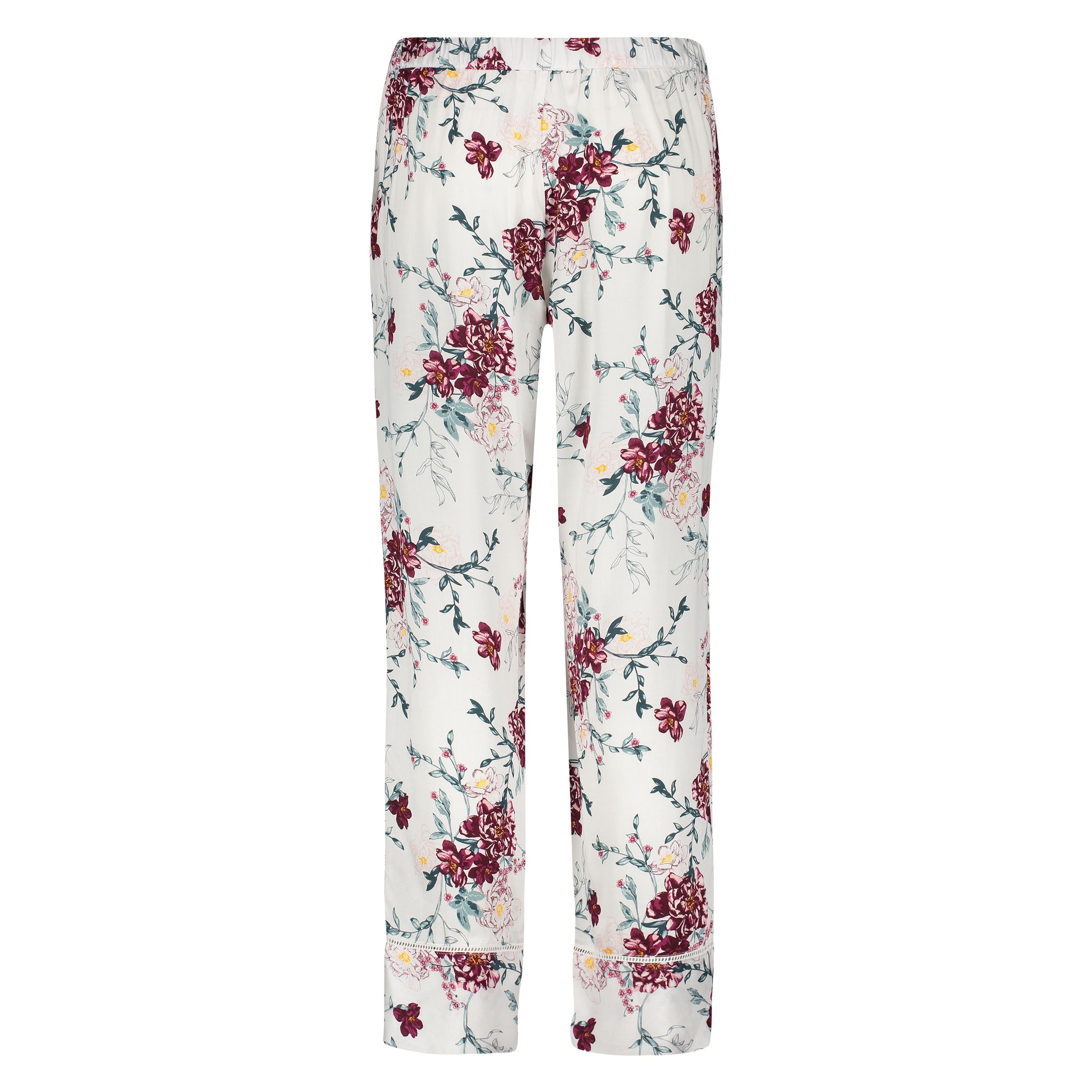 Pyjamabroek woven floral, Wit, main